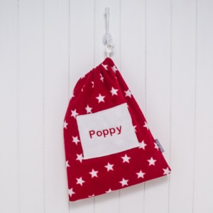 That's mine personalised red stars fleece bag