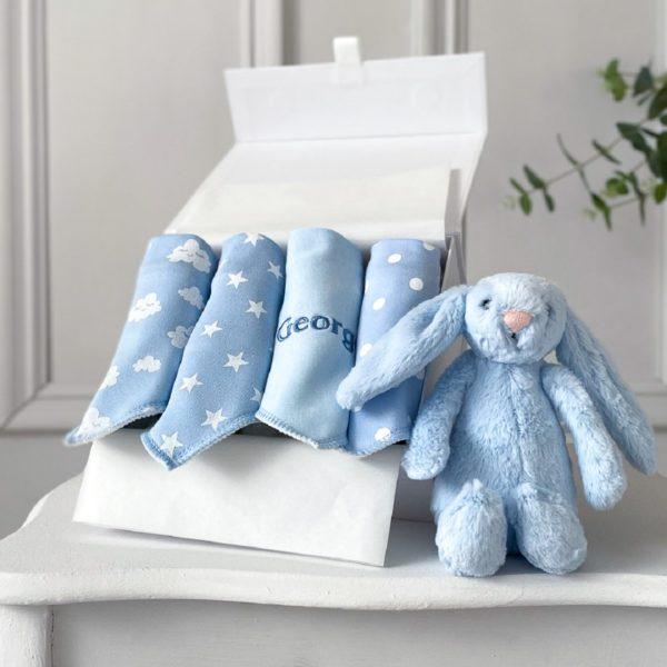 Ziggle personalised 4 pack blue baby bandana bibs