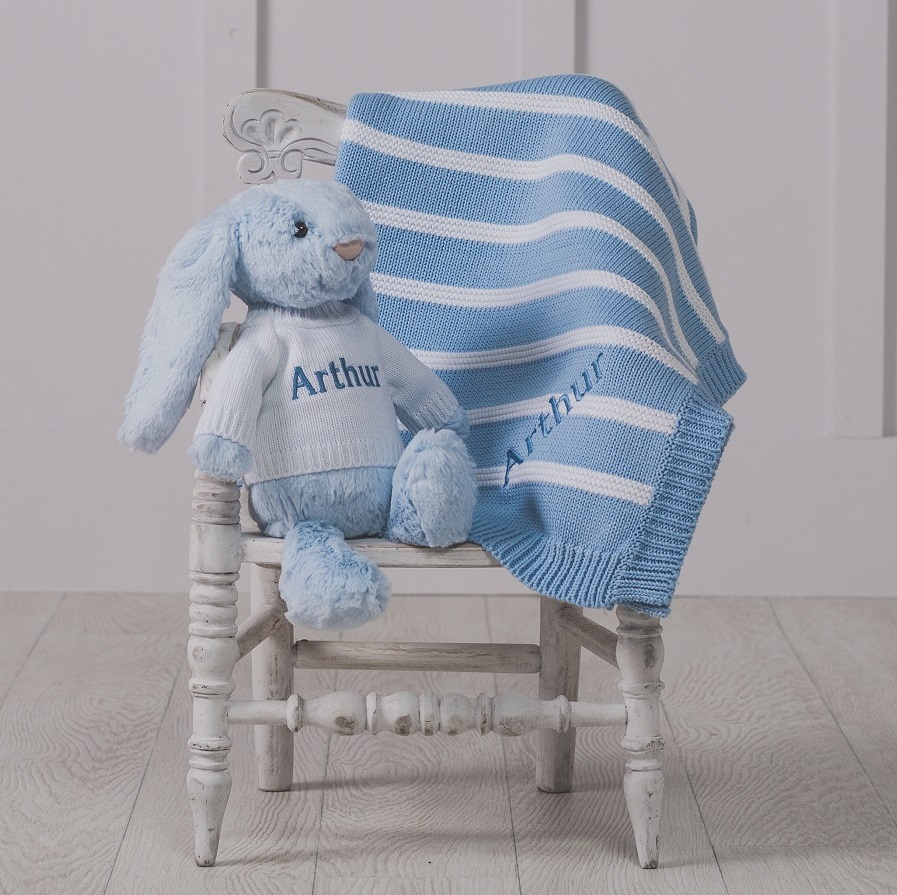 Ziggle personalised stripe cotton knitted baby blanket