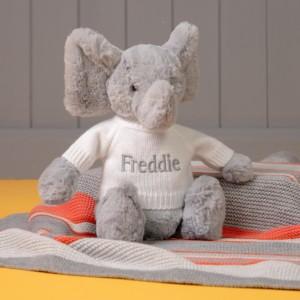 Personalised Jellycat grey bashful elephant soft toy
