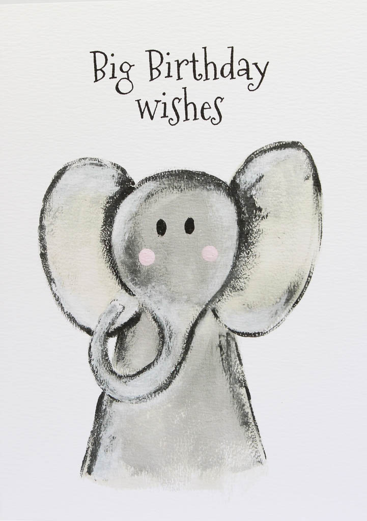 Little Paperie Big Birthday Wishes Elephant Card