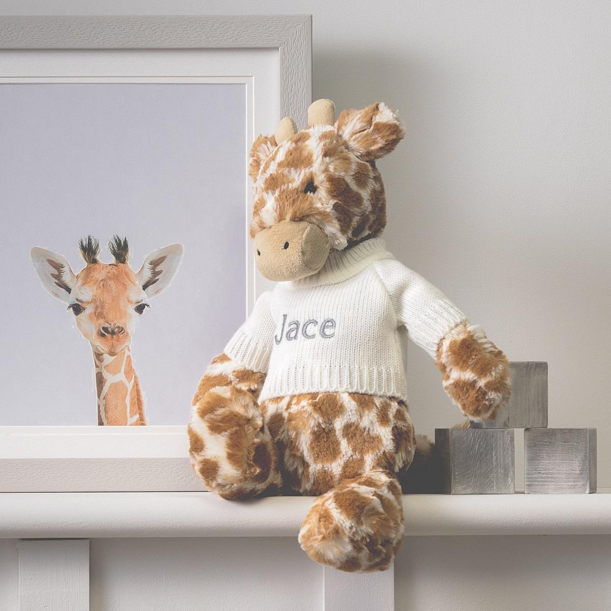 Personalised Jellycat bashful giraffe soft toy