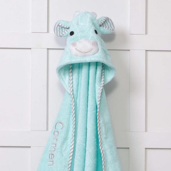 Zoocchini personalised aqua green jaime the giraffe hooded baby towel