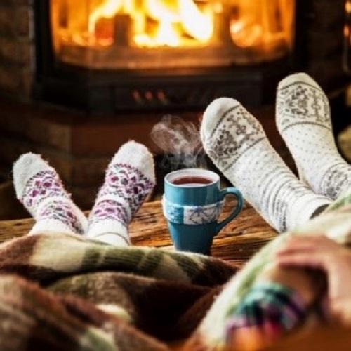 Hygge socks by the fire