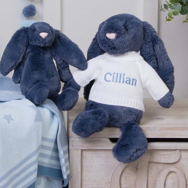 Personalised Jellycat Navy Blue Bashful Bunny Soft Toy