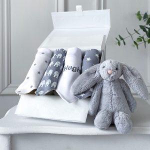Ziggle personalised 4 pack grey elephant and starfish baby bandana bibs
