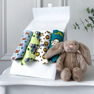 Ziggle personalised 4 pack safari animals baby bandana bibs