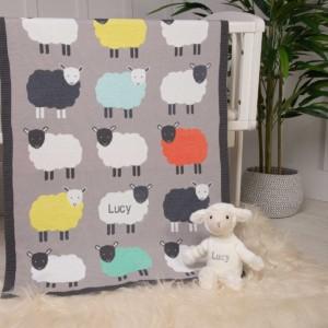 Bizzi Growin personalised flock of sheep baby pram blanket