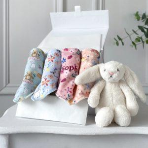 Ziggle personalised 4 pack multicoloured designer baby bandana bibs