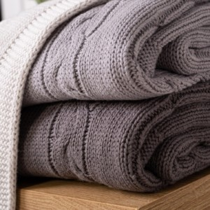 Toffee Moon personalised arctic grey, hound grey or charcoal grey chunky cable baby blanket