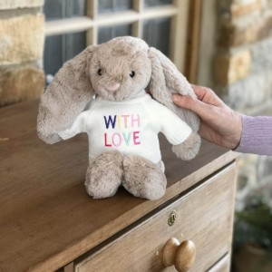 Jellycat bashful bunny soft toy with 'With Love' jumper