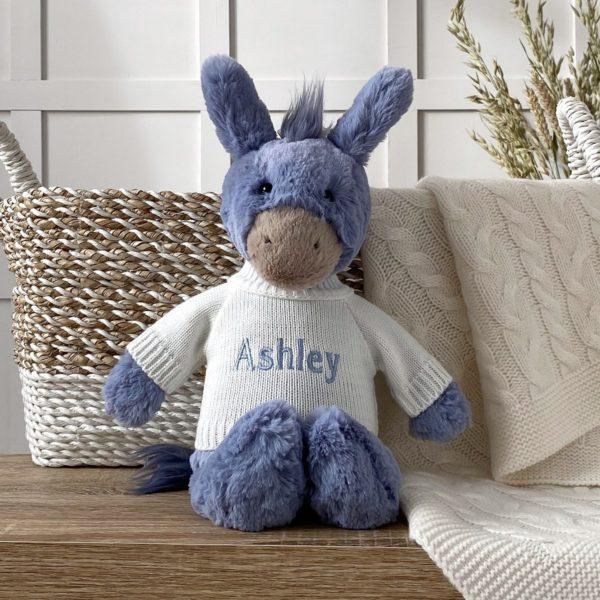 Personalised Jellycat bashful donkey soft toy