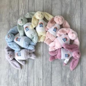 Jellycat medium bashful bunny soft toy with 'Stay Safe' jumper