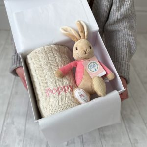 Toffee Moon personalised luxury cable baby blanket and Flopsy Bunny soft toy