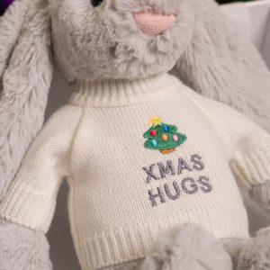 Jellycat medium bashful bunny soft toy with 'Xmas Hugs' jumper
