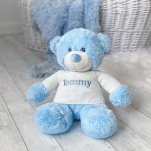 Personalised Aurora blue bonnie bear large teddy soft toy