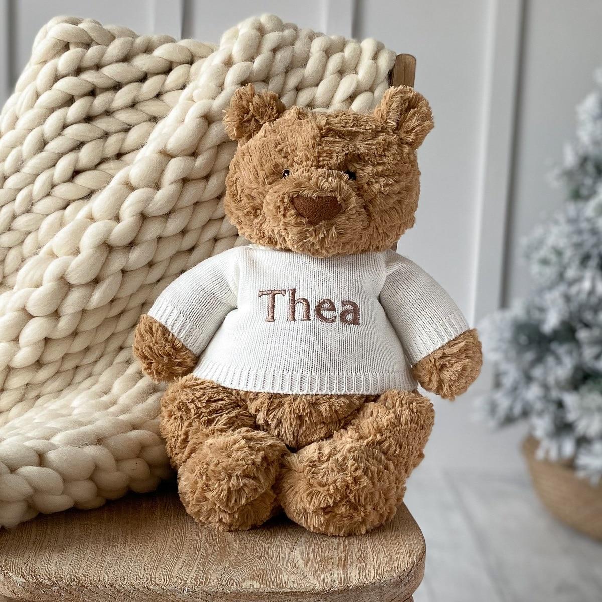 Personalised Jellycat Bartholomew bear large teddy newborn baby gift soft toy