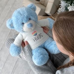 Aurora large blue bonnie teddy bear with rainbow heart hugs jumper