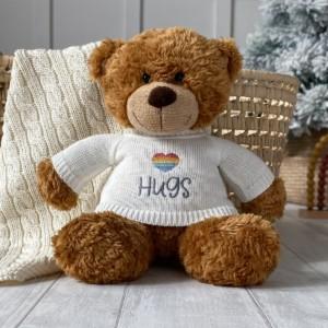 Aurora large brown bonnie teddy bear with rainbow heart hugs jumper