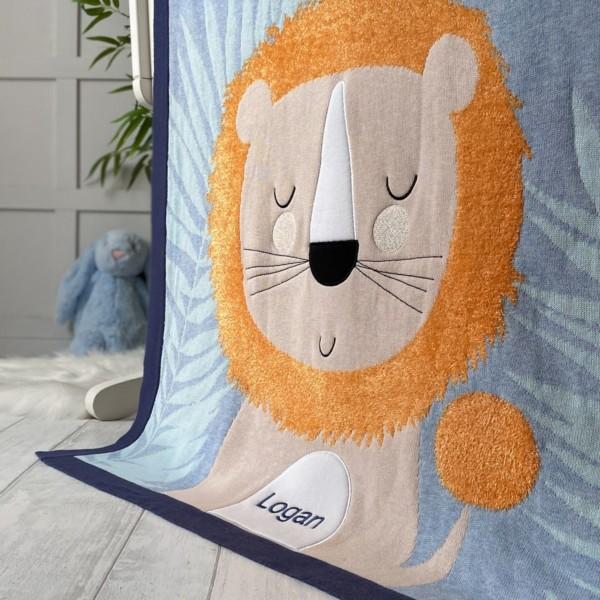 Bizzi Growin personalised ludvic lion baby pram blanket
