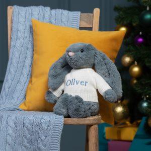 Personalised Jellycat dusky blue bashful bunny soft toy