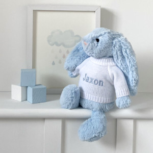 Personalised Jellycat bashful bunny soft toy in pale blue or silver