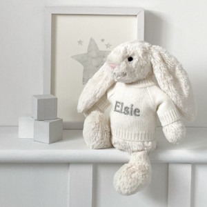 Personalised Jellycat bashful bunny soft toy in beige, cream or silver