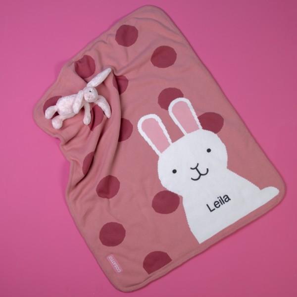 Cosatto personalised bunny buddy sherpa fleece blanket