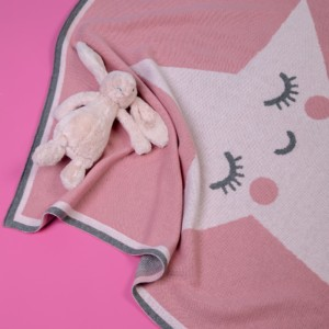 Cosatto personalised pink happy star knitted blanket