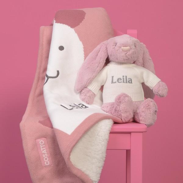 Personalised Cosatto bunny buddy sherpa fleece blanket and Jellycat bashful bunny gift set