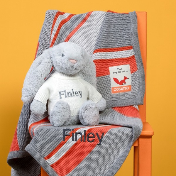 Personalised Cosatto grey and orange stripe blanket and Jellycat soft toy gift set