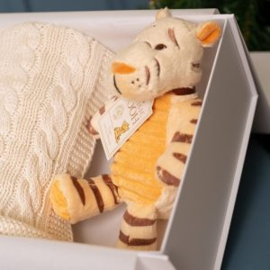 Toffee Moon personalised luxury cable baby blanket and Tigger soft toy