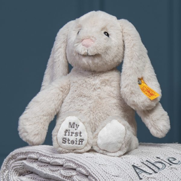 My First Steiff Hoppie Bunny beige soft toy and Toffee Moon luxury cable blanket gift set