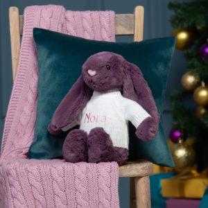 Personalised Jellycat plum bashful bunny soft toy