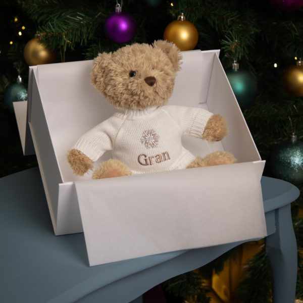 Personalised Keel sherwood medium teddy bear soft toy with 'Snowflake' jumper